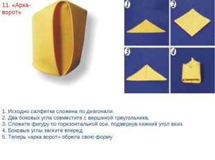 11. «Арка-ворот» 1. Исходно салфетка сложена по диагонали. 2. Два боковых угл
