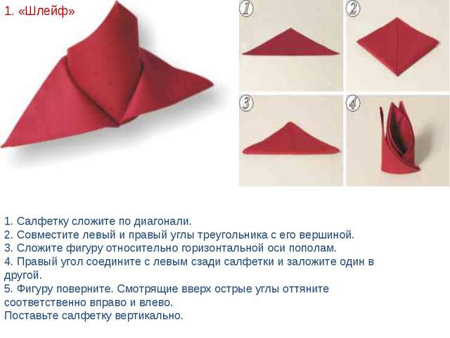 1. «Шлейф» 1. Салфетку сложите по диагонали. 2. Совместите левый и правый угл...
