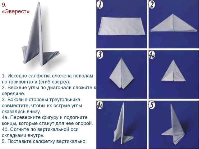 9. «Эверест» 1. Исходно салфетка сложена пополам по горизонтали (сгиб сверху)...