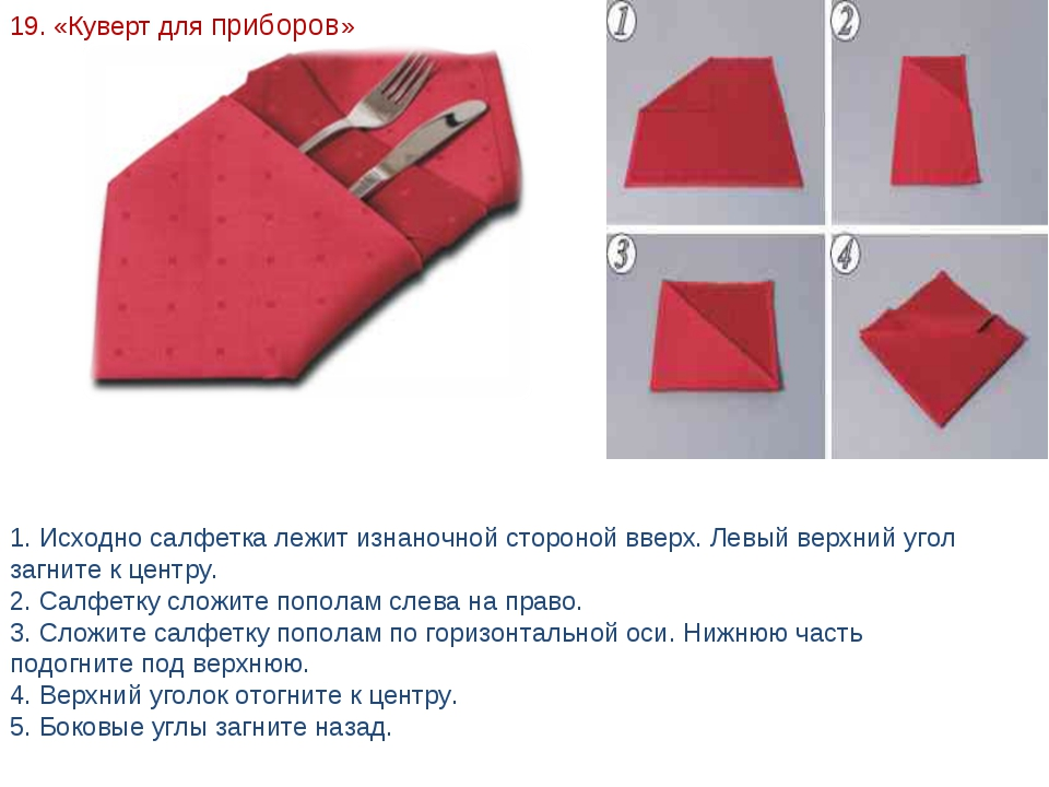 Как сделать из салфеток для столовых приборов 338