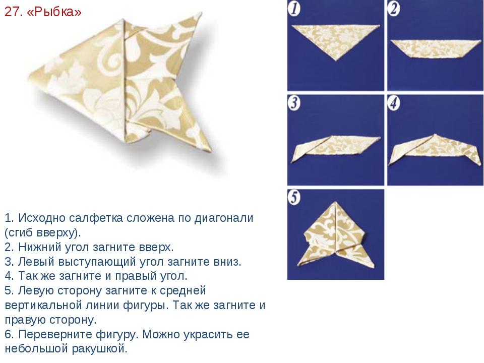 27. «Рыбка» 1. Исходно салфетка сложена по диагонали (сгиб вверху). 2. Нижний...