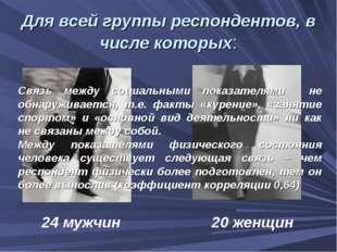Для всей группы респондентов, в числе которых: 24 мужчин 20 женщин Связь межд