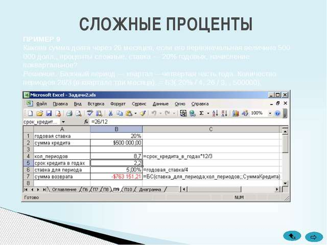 СЛОЖНЫЕ ПРОЦЕНТЫ ПРИМЕР 10 Рассчитать будущее значение вклада10000 руб.. чере...