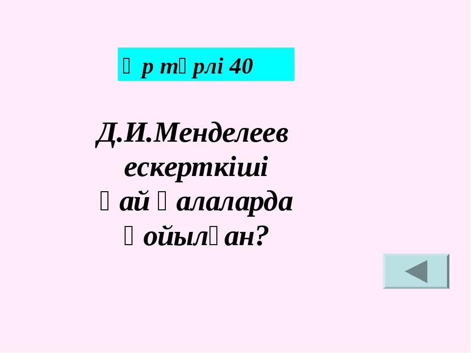 Әр түрлі 40 Д.И.Менделеев ескерткіші қай қалаларда қойылған?