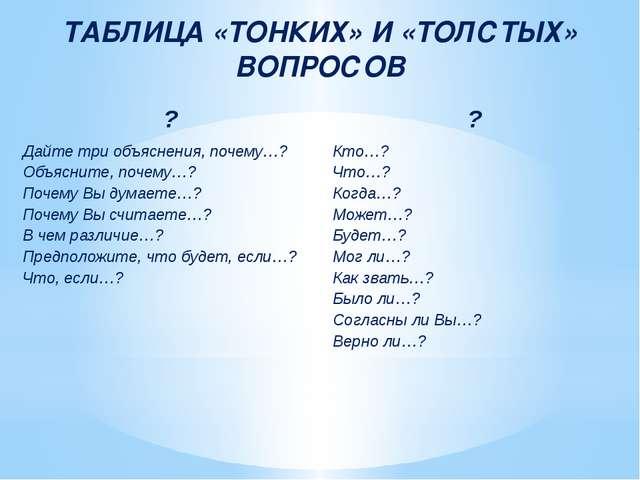 ТАБЛИЦА «ТОНКИХ» И «ТОЛСТЫХ» ВОПРОСОВ ? ? Дайте три объяснения, почему…? Объя...