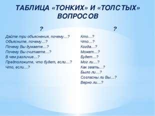 ТАБЛИЦА «ТОНКИХ» И «ТОЛСТЫХ» ВОПРОСОВ ? ? Дайте три объяснения, почему…? Объя