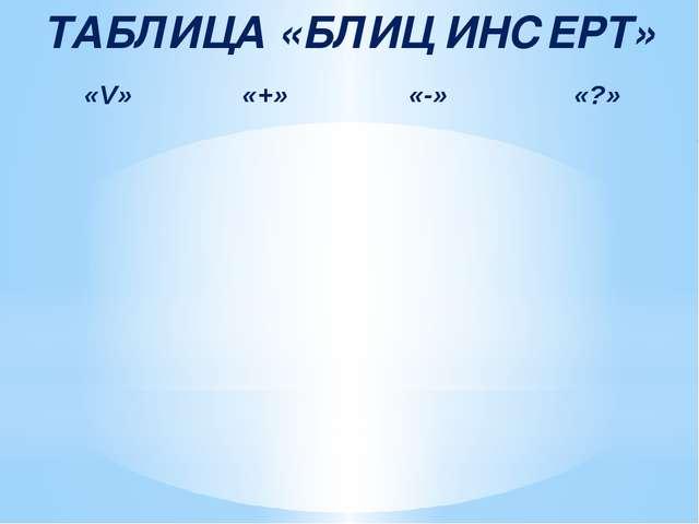 ТАБЛИЦА «БЛИЦ ИНСЕРТ» «V» «+» «-» «?»