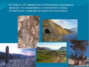 На Байкале 267 официально установленных памятников природы: это ландшафтные,