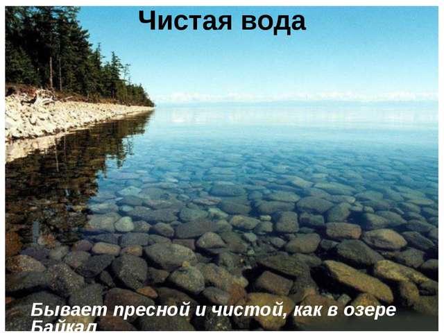 Чистая вода Бывает пресной и чистой, как в озере Байкал