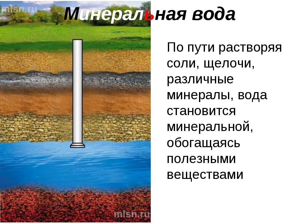 Минеральная вода По пути растворяя соли, щелочи, различные минералы, вода ста...