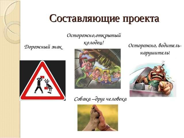 Составляющие проекта Дорожный знак Осторожно,открытый колодец! Осторожно, вод...