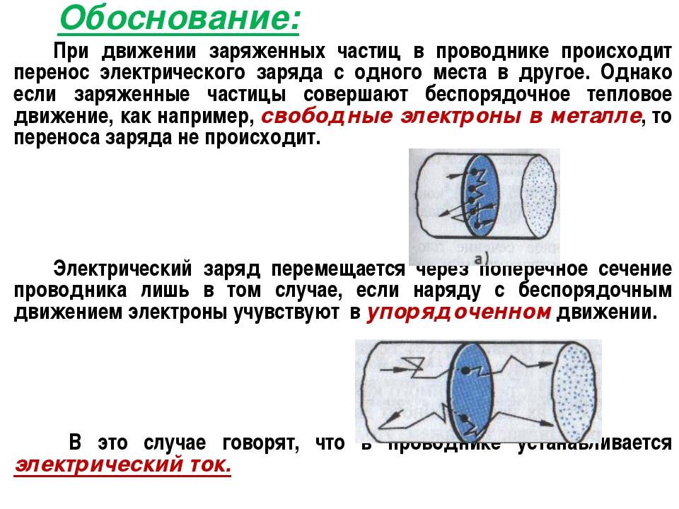 Обоснование: При движении заряженных частиц в проводнике происходит перенос...