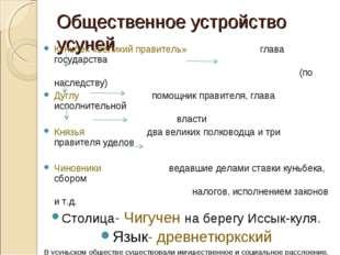 Общественное устройство усуней Куньбек «великий правитель» глава государства
