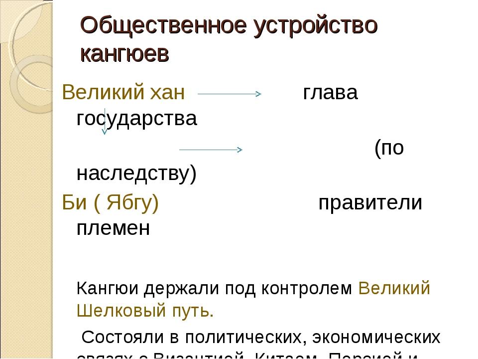 Общественное устройство кангюев Великий хан глава государства (по наследству)...