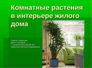 Комнатные растения в интерьере жилого дома Учитель технологии МБОУ СОШ №30 г.