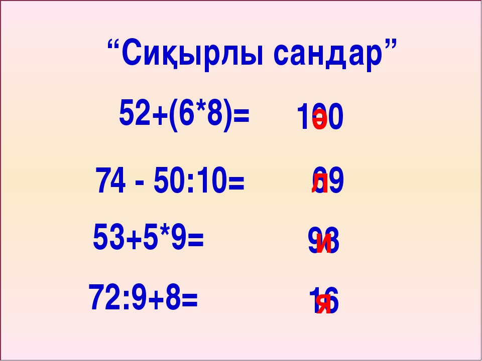 "52+(6*8)= ""Сиқырлы сандар"" 100 ә 74 - 50:10= 69 л 53+5*9= 98 и 72:9+8= 16 я"