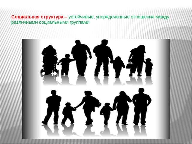 Социальная структура– устойчивые, упорядоченные отношения между различными с...