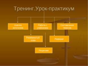 Тренинг.Урок-практикум Анализ источника Работа с учебником Составление тезисо