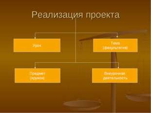 Реализация проекта Урок Тема (факультатив) Предмет (кружок) Внеурочная деятел