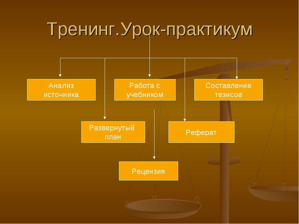 Тренинг.Урок-практикум Анализ источника Работа с учебником Составление тезисо...