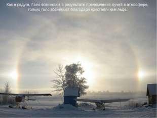 Как и радуга, Гало возникают в результате преломления лучей в атмосфере, толь