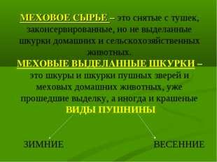 МЕХОВОЕ СЫРЬЕ – это снятые с тушек, законсервированные, но не выделанные шкур