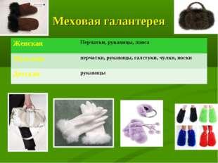 Меховая галантерея ЖенскаяПерчатки, рукавицы, пояса Мужскаяперчатки, рукави