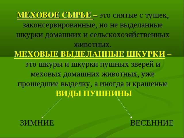 МЕХОВОЕ СЫРЬЕ – это снятые с тушек, законсервированные, но не выделанные шкур...