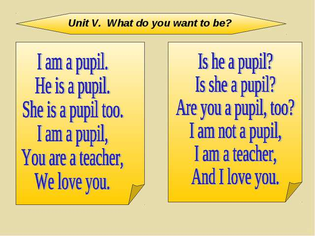 Unit V. What do you want to be?