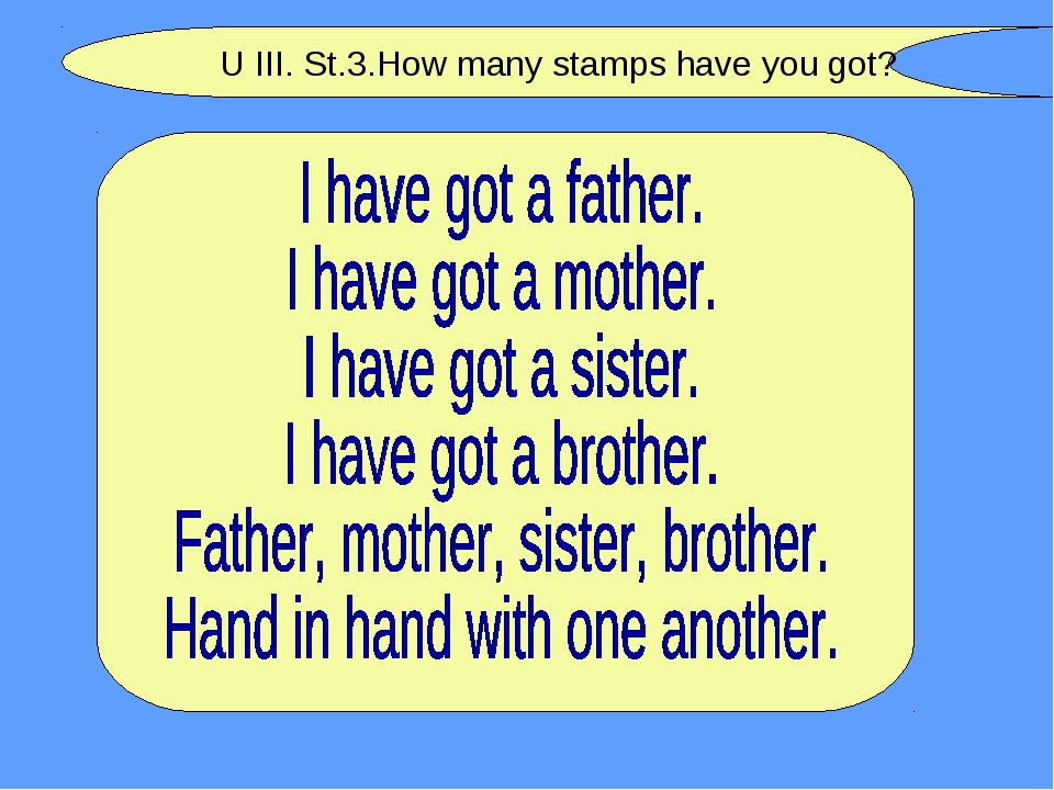 U III. St.3.How many stamps have you got?