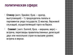 политическая сфера: Спикер (англ. Speaker, букв. – оратор, выступающий) – 1)