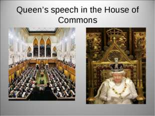 Queen's speech in the House of Commons