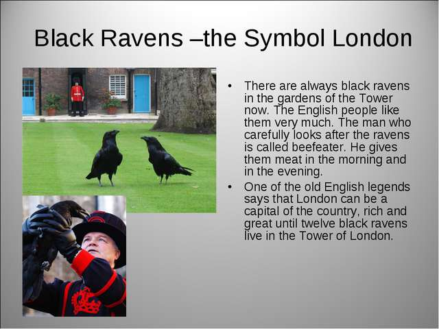 Black Ravens –the Symbol London There are always black ravens in the gardens...
