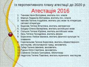 Атестація 2016 Ткачова Неля Вікторівна, вчитель поч. класів Марчук Людмила Ві