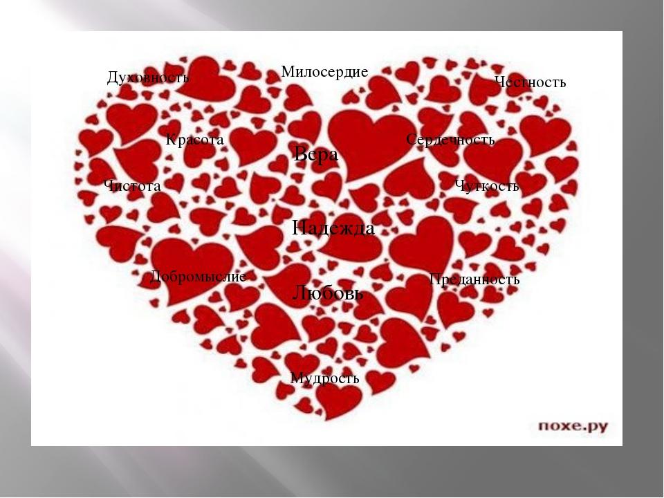 Духовность Чистота Вера Честность Любовь Чуткость Милосердие Мудрость Красота...