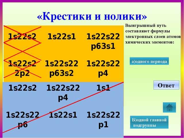 «Крестики и нолики» Выигрышный путь составляют формулы электронных слоев ато...