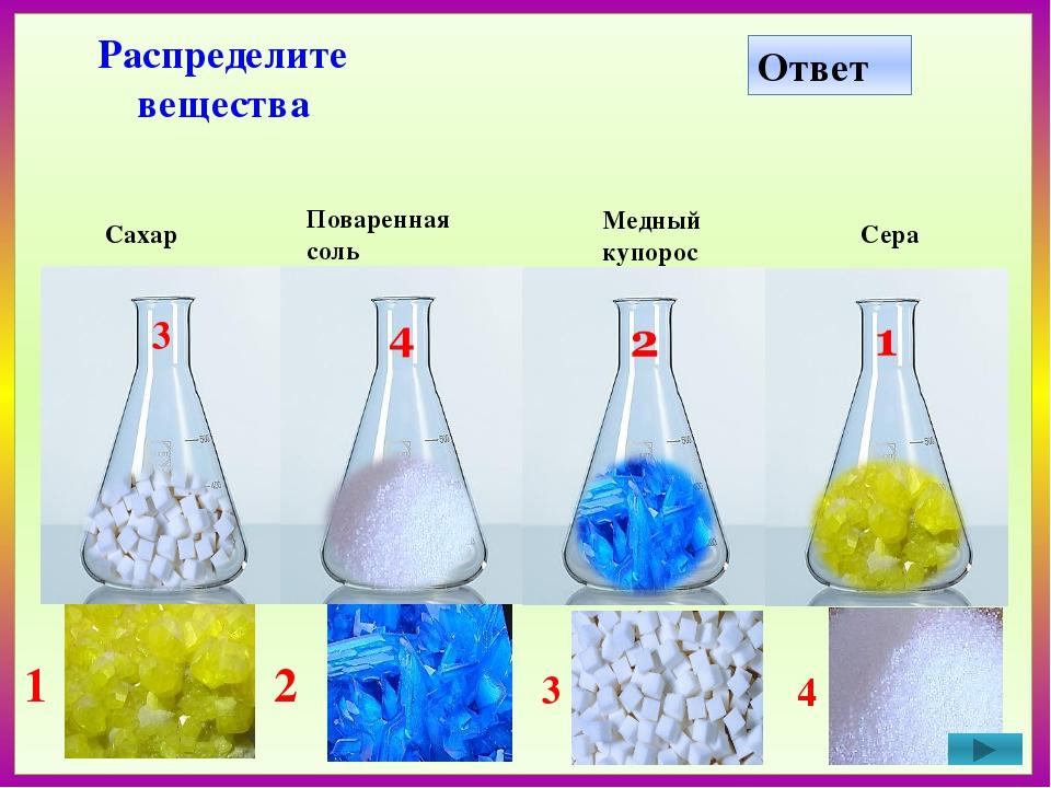 Железо Соляная кислота Медь Уголь 1 2 3 4 Распределите вещества Ответ 3