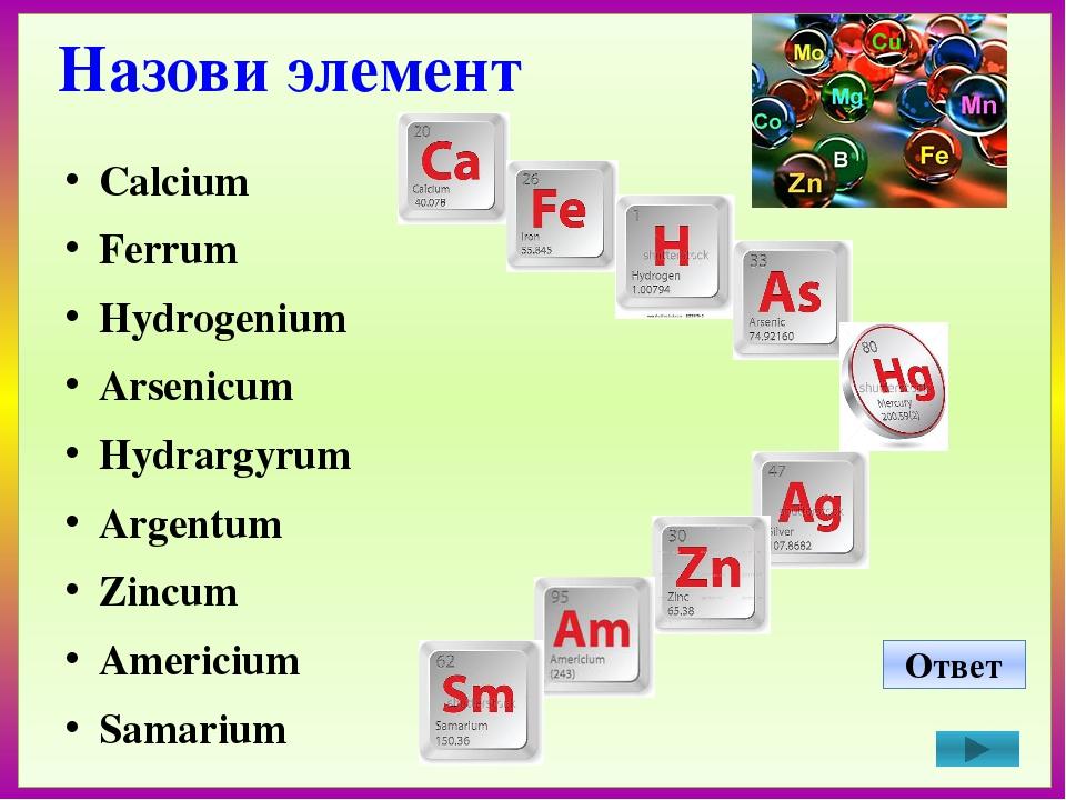 Назови элемент Calcium Ferrum Hydrogenium Arsenicum Hydrargyrum Argentum Zin...