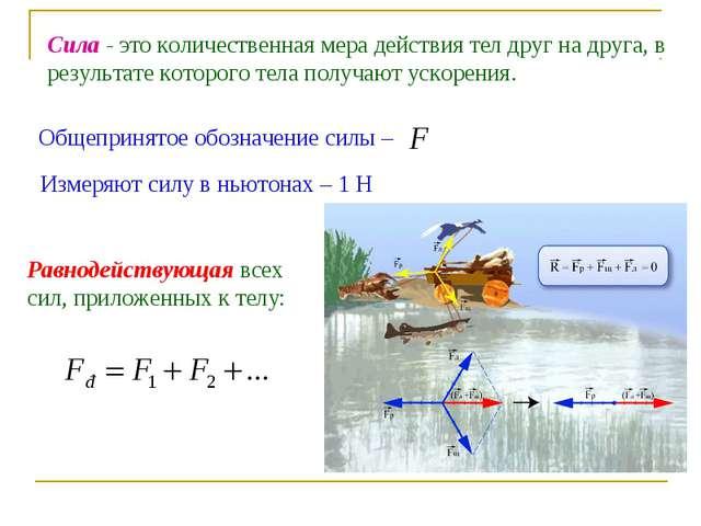 Общепринятое обозначение силы – Сила - это количественная мера действия тел д...