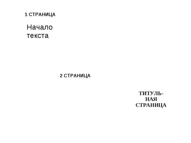 1 СТРАНИЦА 2 СТРАНИЦА  ТИТУЛЬ-НАЯ СТРАНИЦА Начало текста