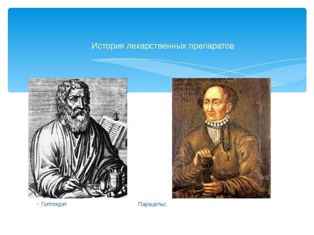 Гиппократ Парацельс История лекарственных препаратов