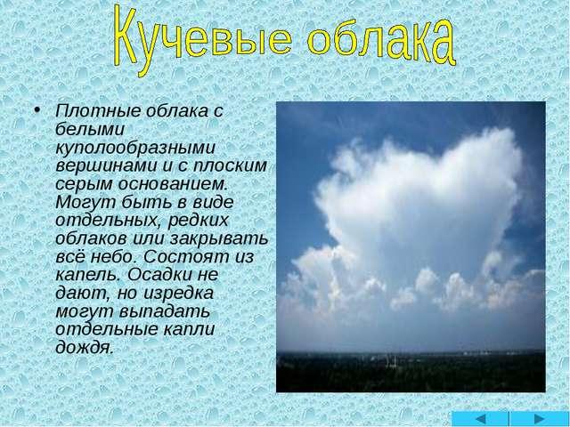 Плотные облака с белыми куполообразными вершинами и с плоским серым основание...