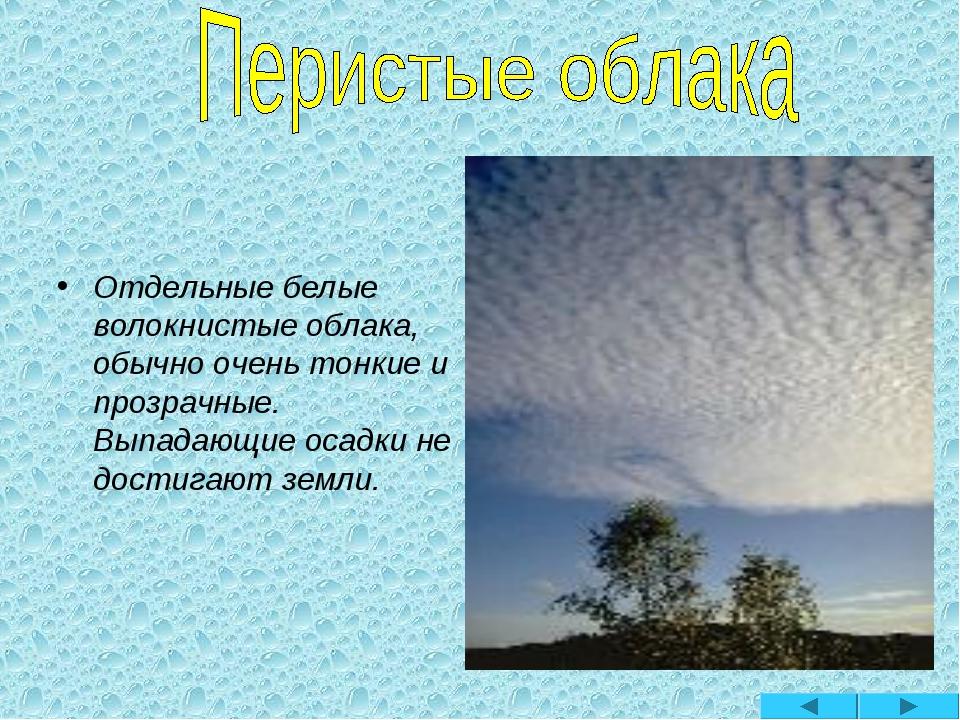 Отдельные белые волокнистые облака, обычно очень тонкие и прозрачные. Выпада...