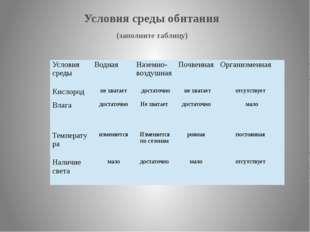 (заполните таблицу) Условия среды обитания Условия среды Водная Наземно- воз