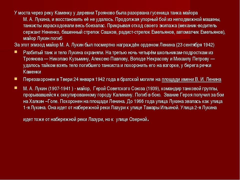 У моста через реку Каменку у деревни Трояново была разорванагусеница танкам...