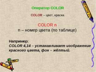 Оператор COLOR COLOR n n – номер цвета (по таблице) Например: COLOR 4,14 – ус
