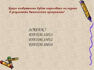 Какое изображение будет нарисовано на экране в результате выполнения программ