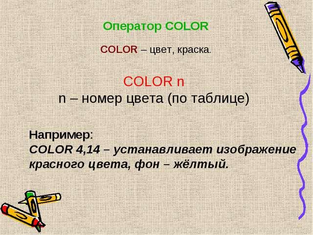 Оператор COLOR COLOR n n – номер цвета (по таблице) Например: COLOR 4,14 – ус...