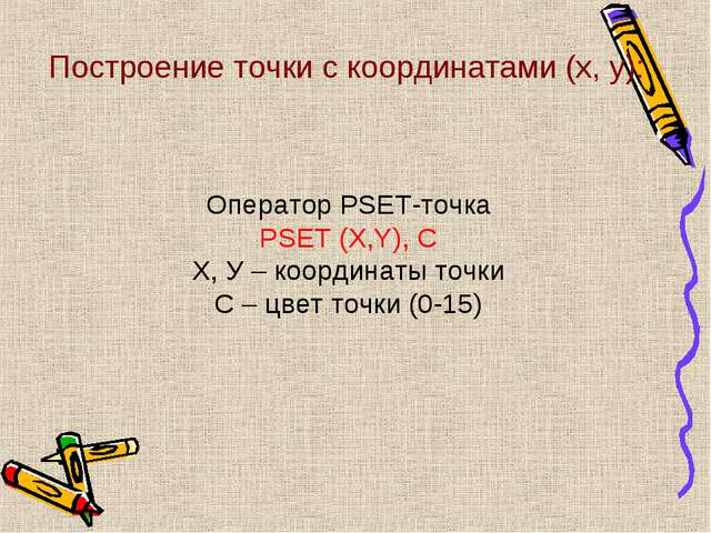 Построение точки с координатами (x, y): Оператор PSET-точка PSET (X,Y), С Х,...
