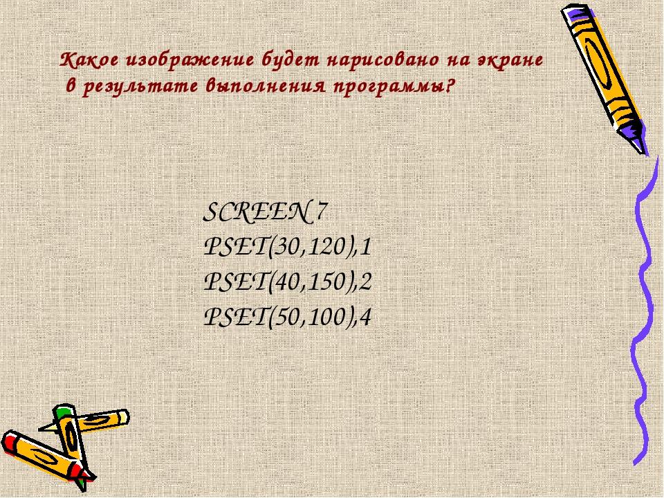 Какое изображение будет нарисовано на экране в результате выполнения программ...